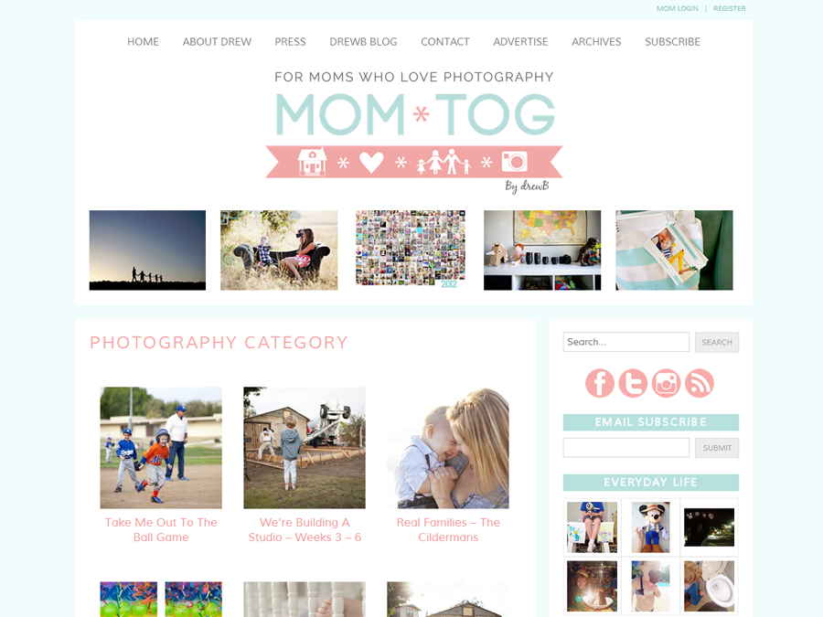 Mom*tog Photography Blog Category Page for Beautiful Blog Design
