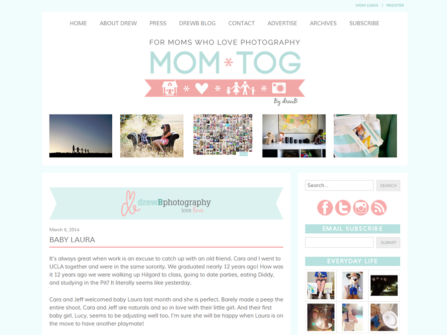 Mom*tog Photography Blog drewb Blog Page for Custom Website Design