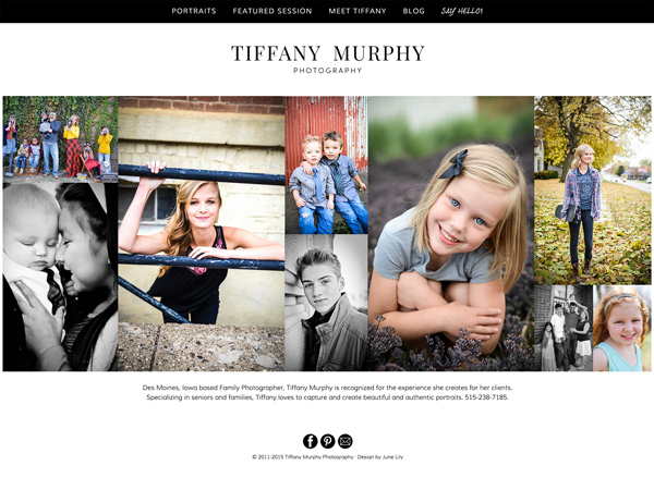 Custom Wordpress Theme for Tiffany Murphy Photography - Fully Responsive and Beautifully Modern