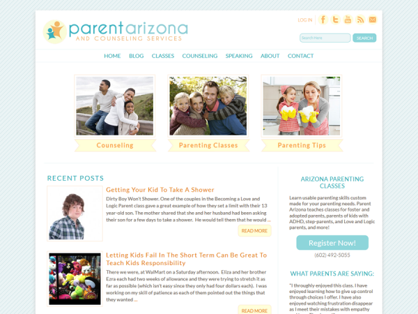 Parent Arizona and Counseling Services: Pretty Custom Responsive Website Design
