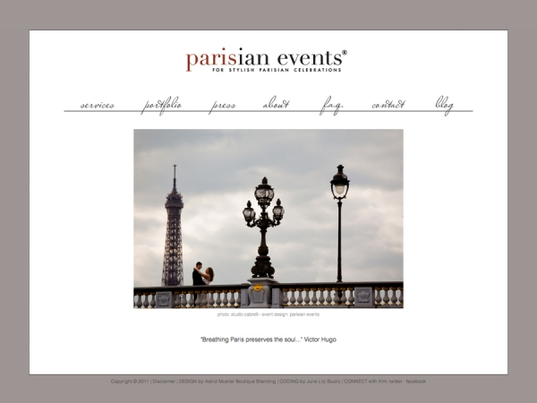Custom Website Design: Parisian Events