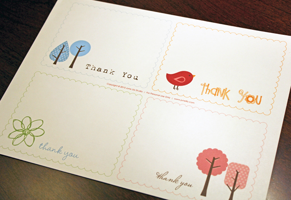 Free Printable Thank You Notes  June Lily  Design Illustration