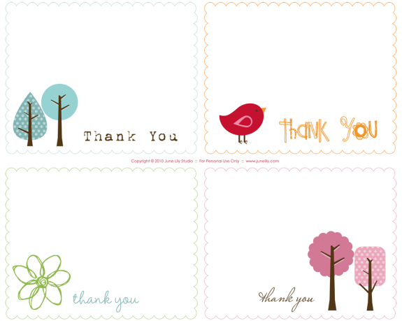 Free Printable Thank You Notes by June Lily