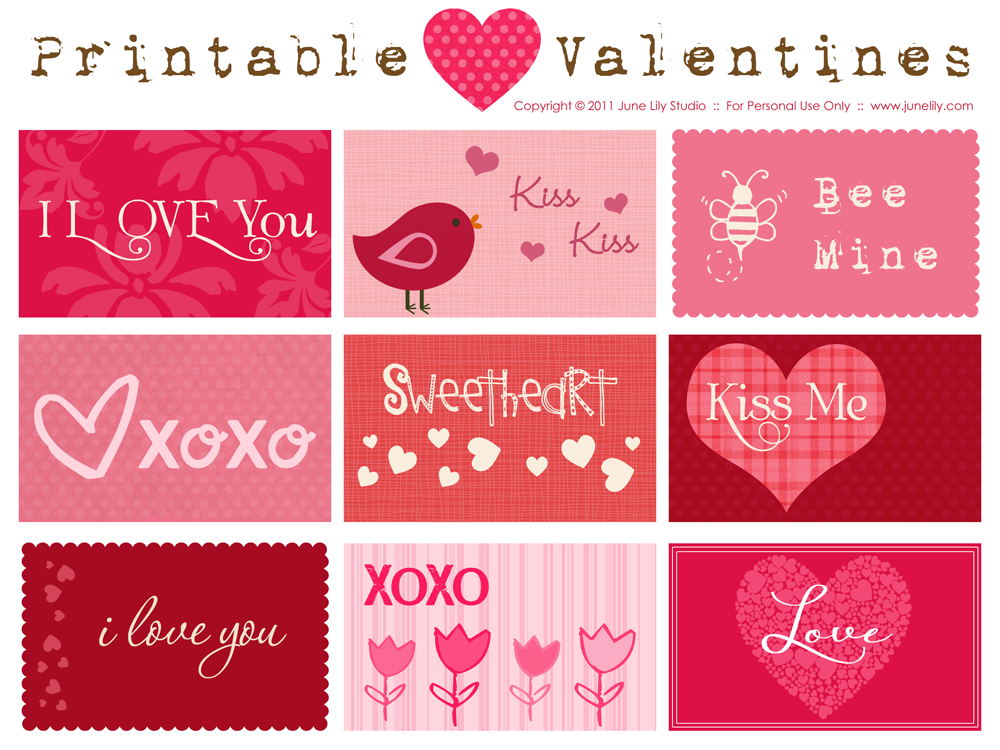 Printable Valentines | June Lily | Web Design And Illustration: junelily.com/free-printable-valentines-cards