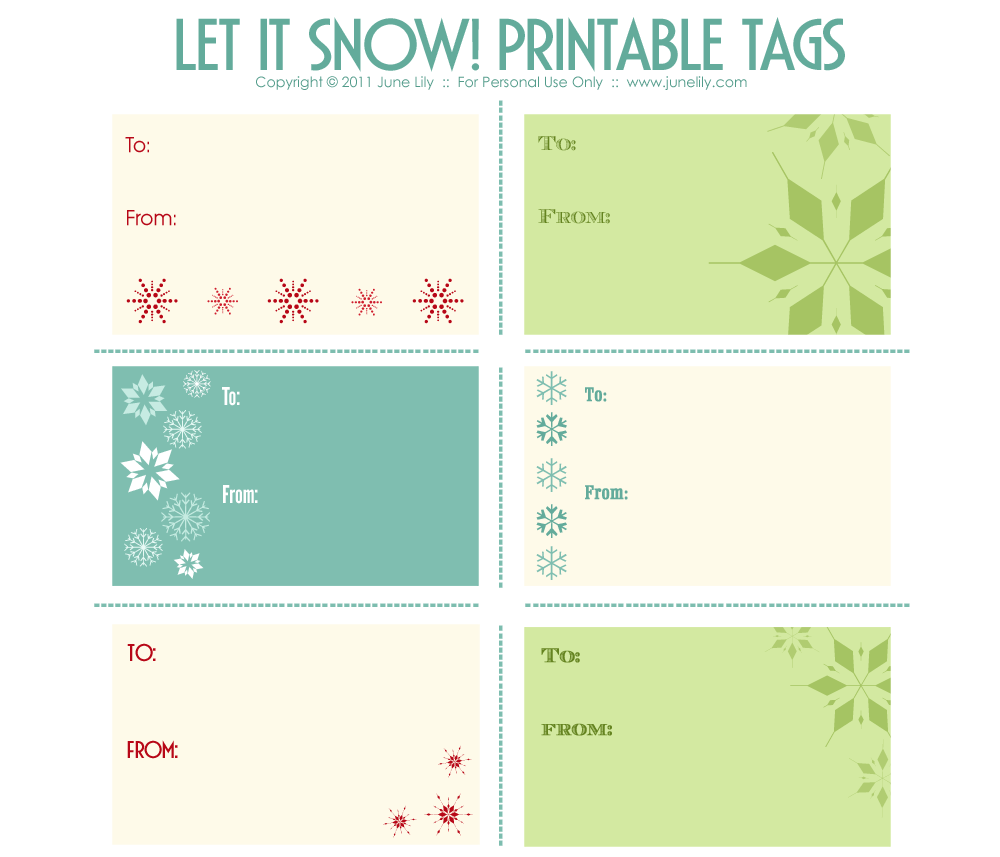Printable Gift Tags | June Lily | Web Design and Illustration