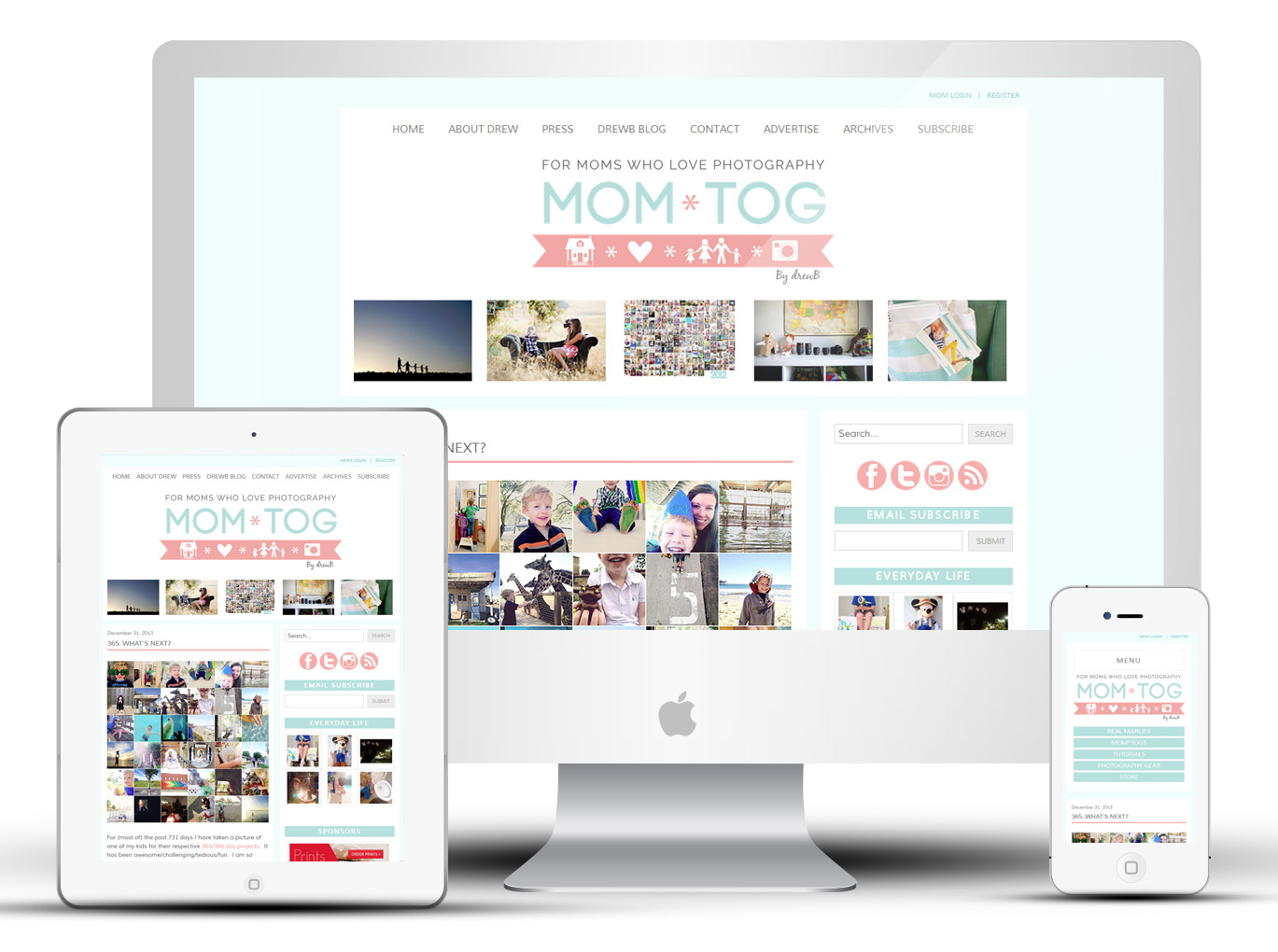 Custom Responsive WordPress Design: Mom*tog Photography Blog