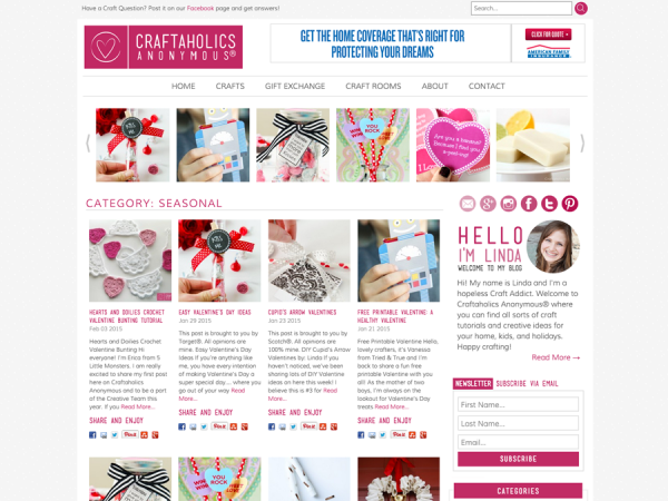 Pretty WordPress Blog Design for Craftaholics Anonymous